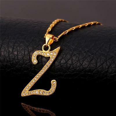 18K GoldPlated Initial English Alphabet Z Letter Cubic Zirconia Necklace Pendant