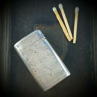 Antique 1874 GORHAM Hand-decorated Bright Cut Sterling Silver Match Safe Vesta