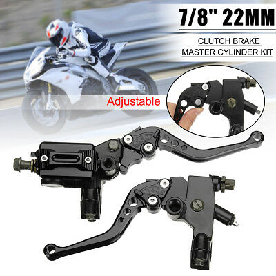 "7/8"" 22mm CNC Motorcycle Front Brake Clutch Master Cylinder Lever Reservoir AU"