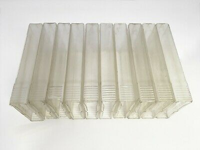 Lot of 10 Used Clear Plastic Squeeze and Shake VHS Storage/Protective Slip Cases