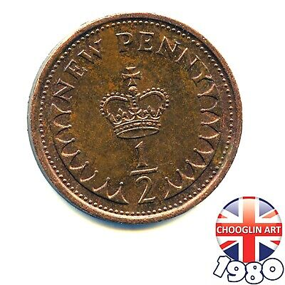 A 1980 British Bronze ELIZABETH II Half New Penny ½p coin, 40 Years Old!