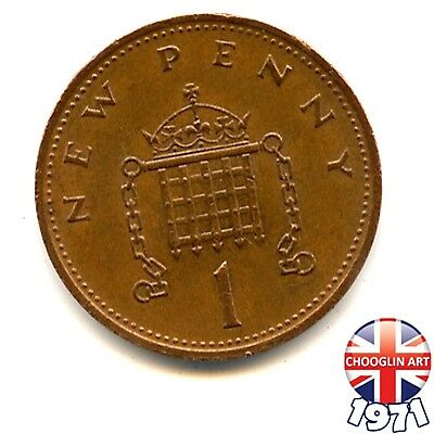 A 1971 British Bronze ELIZABETH II ONE NEW PENNY coin