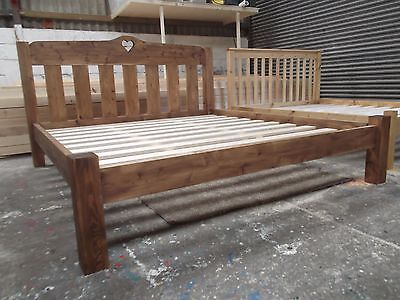Handmade Rustic Chunky Pine Bed Frame with Low Toe - Heart Moon Star Butterfly