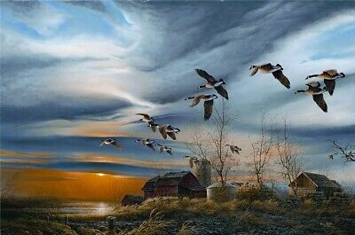 Terry Redlin Silent Sunset HD Print Art Home Decor Oil Painting on Canvas 12x18""