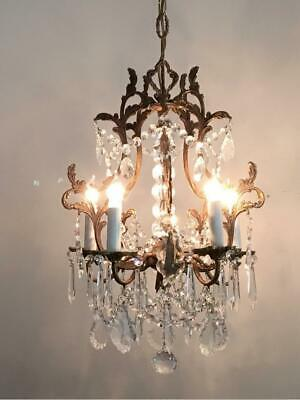 ANTIQUE VTG ITALIAN BRASS w FRENCH & CZECH CRYSTALS PETITE CAGE CHANDELIER LAMP