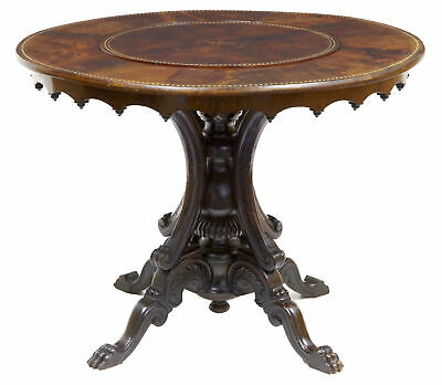 Rare 19Th Century French Flame Mahogany Mechanised Lazy Susan Center Table