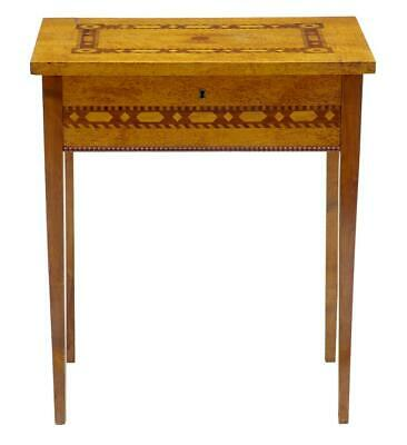 19Th Century Birch Root Inlaid Sewing Side Table
