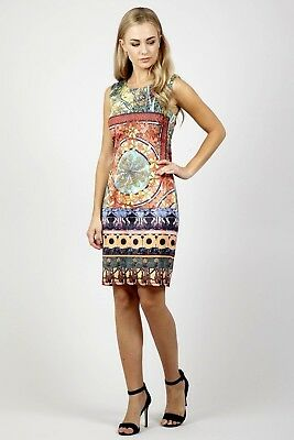 06898590e8 Ladies Izabel Multicoloured Tribal Print Shift Sleeveless Dress Size 16