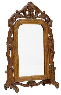Late 19Th Century Carved Oak Black Forest Vanity Mirror