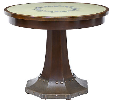 19Th Century Oak And Copper Aesthetic Movement Center Table