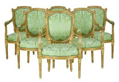 Set Of 6 19Th Century Gilt Armchairs