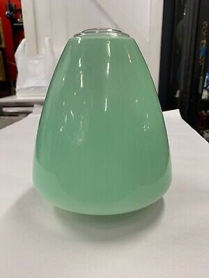 ORIGINAL ART DECO SHADE GLASS RETRO LAMP LIGHT DIANA GREEN SAUCER 1950's