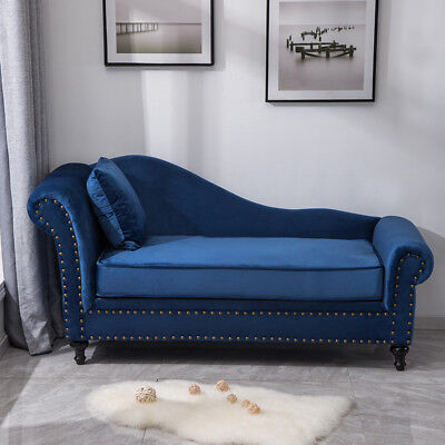 Velvet Chesterfield Chaise Lounge Queen Anne Sofa Armchair Cushion Day Bed Seat