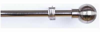 Argos Home Extendable Ribbed Curtain Pole – Stainless Steel