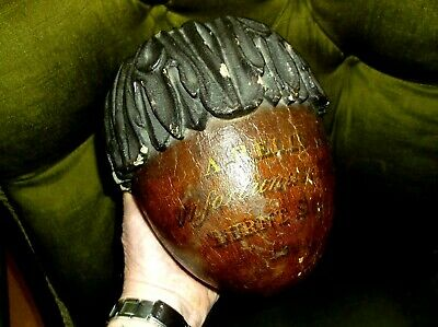 Very Rare Antique Large Oak Acorn Finial Relic From Hms Talavera Ship Dated 1841