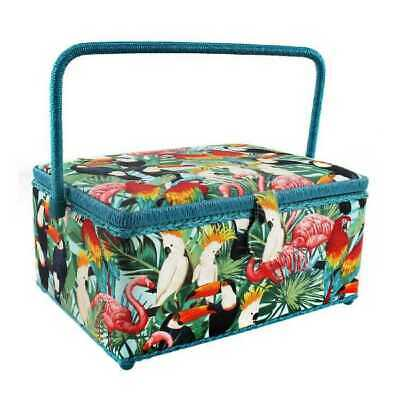Large Craft Padded Green/Blue Flamingo Bird Sewing Box New Handle Compartment