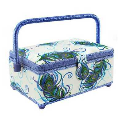 Large Craft White Purple Green Padded Sewing Box New Handle Compartment