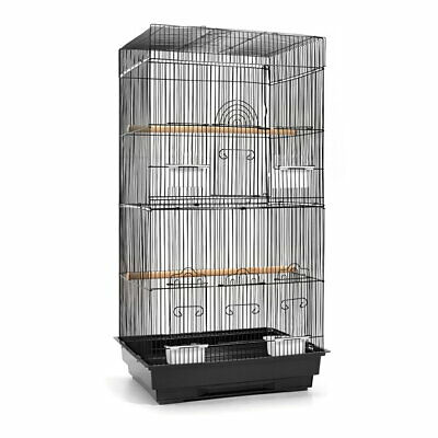 88cm Bird Cage Parrot Carrier Portable Canary Budgie Finch Perch M Black @SAV