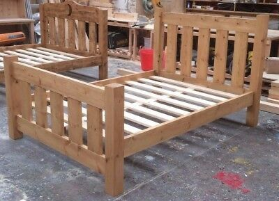 Handmade Rustic Chunky Pine Slatted Bed Frame (Dropped / low / standard toe)
