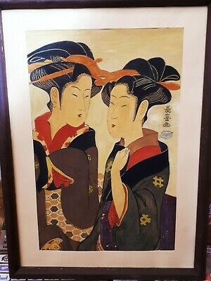 Antique Japanese Ukiyo-e woodblock print repaint of Eishosai Choki circa 1794