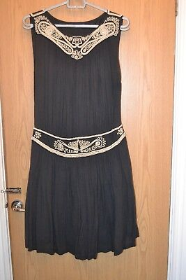 Vintage French Connection 1920S 30S Look Dress, Navy Off White Beading, Sz 10