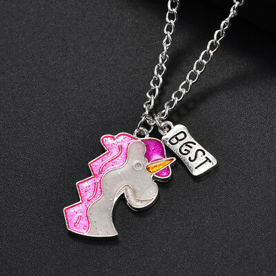 2 Pcs Best Friend Fashion Sparkling Unicorn Necklace Pendant Jewelry Gift LI