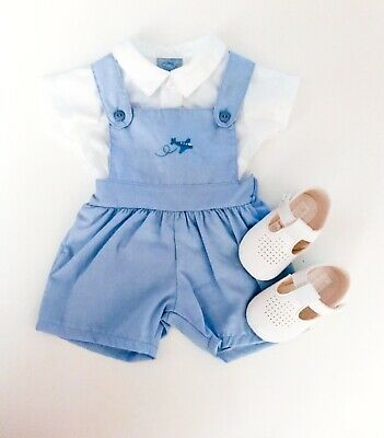 Traditional Spanish Style Baby Boys Traditional Dungarees in Pale Blue