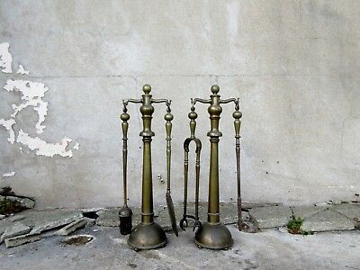 Very Large Antique Victorian Brass Companion Set