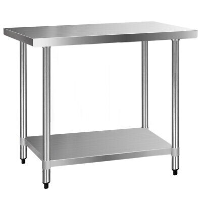 1219x610mm Commercial 430 Stainless Steel Kitchen Bench Food Prep Table @SAV