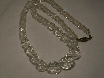 Unusual Art Deco Sterling Silver,Graduated Faceted Split Beads Necklace