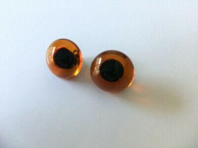 Collectors BROWN 16mm Shiny Teddy Bear Eyes with Loops x 1 pair