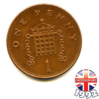 A 1992 British Copper-Plated Steel ELIZABETH II One Penny 1p coin