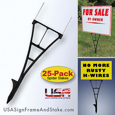 Yard Sign Stakes - H-Wire Yard Stakes Alternative that Won't Rust - 25-PACK