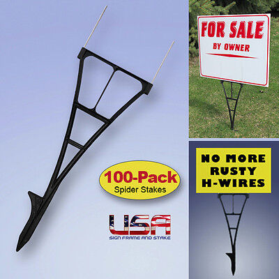 Yard Sign Stakes - H-Wire Yard Stakes Alternative - 100-PACK - Won't Rust