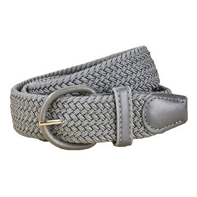 Men's Male PU Leather Metal Covered Buckle Woven Elastic Stretch Belts Acce
