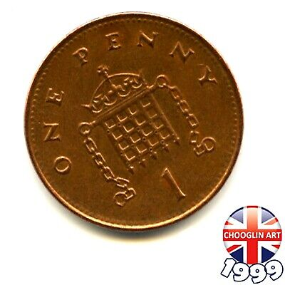 A 1999 British Copper-Plated Steel ELIZABETH II One Penny 1p coin