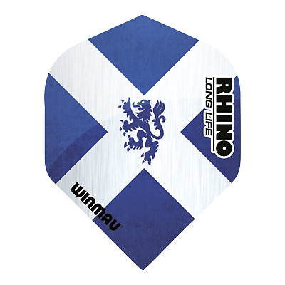 3 Sets of Winmau Rhino Darts Flights, Long Life Extra Thick in Scottish Emblem