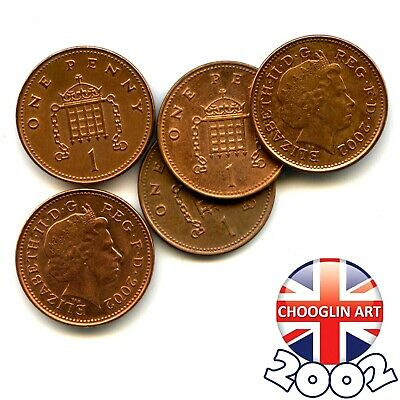 (x5) 2002 British Copper-Plated Steel ELIZABETH II One Penny coins
