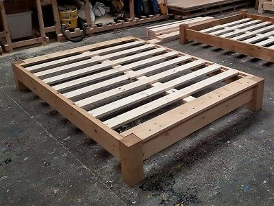 Handmade Chunky Pine Japanese Platform Bed Frame: can alter height to suit