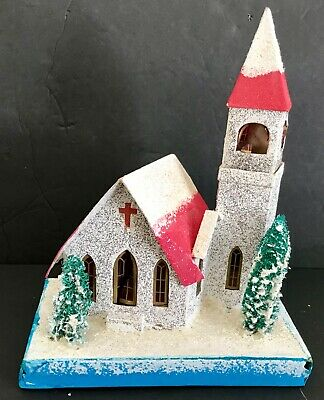Antique Vintage Putz Steeple Church Cardboard Frosted Christmas Village Japan
