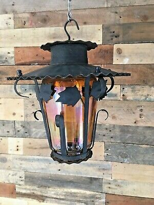 Decorative Arts & Crafts Style Iridescent Amber Glass Hanging Porch Hall Lantern