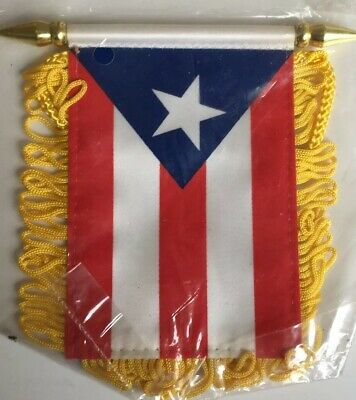 LOT OF 12 Puerto Rico Mini Banner 4 x 6 Flag Car Window Rican WHOLESALE #3