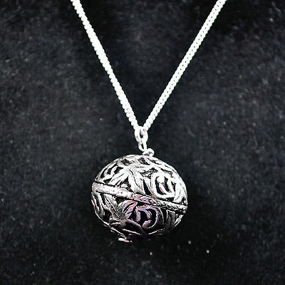 Antique look bead Necklace 925 Sterling Silver fine Jewelry oxidized 13.18 g 16.