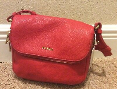 40bfe913b48a4 NWT Fossil Preston Women's Small Flap Leather Crossbody Bag Real Red MSRP  $168