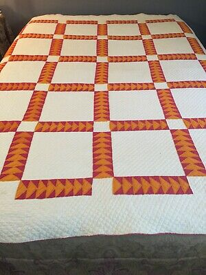 RARE Museum Quality Handmade Antique Indian Arrowhead QUILT Full Size Bedspread