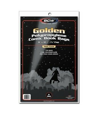 BCW Golden Age Thick Comic Book Bags 2 Mils 100 Poly Protector Acid Free Storage