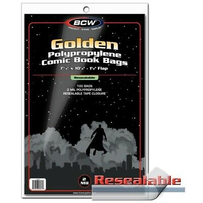 BCW Golden Age Comic Book Bags Resealable 100 2 Mil Protectors Acid Free Storage
