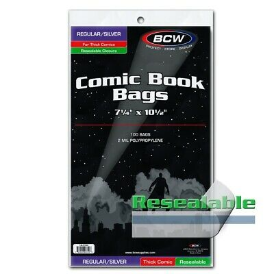 100 BCW Regular /Silver Thick Comic Book Bags Resealable 2 Mil Free Acid Storage
