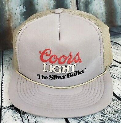 4c59a9bb539 Vintage Coors Light Beer Mesh Trucker Snapback Hat Made USA Distressed Grey