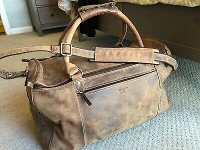JUST LEATHER PRODUCTS Brown Leather Duffle Duffel Weekender Travel Bag